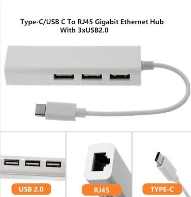 AU15 • Buy Type-C/USB C To LAN RJ45 Ethernet Hub With 3 USB2.0 For MacBook Pro/Air