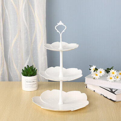 3 Tier White Cake Stand Wedding Party Dessert Plates Afternoon Tea Embossed Tray • 6.88£