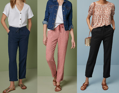 £12.99 • Buy New, Next, Women's Pink Stripe, Black Or Navy Linen Tapered Trousers, Size 6-22