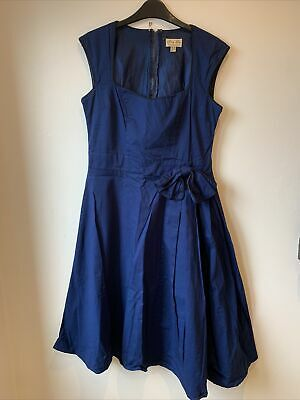 Lindy Bop Royal Blue 50's Style Dress Size 14 Fit & Flare Full Circle Skirt • 9.99£