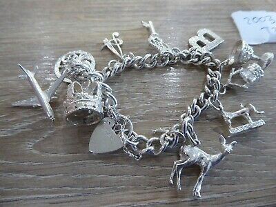 Beautiful Vintage Solid Silver Charm Bracelet With 12 Charms • 85£