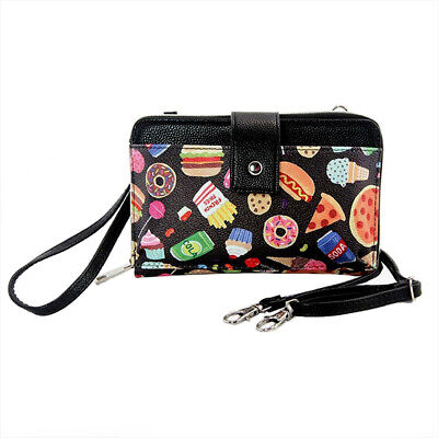 $18 • Buy Junk Food Pizza Candy Black Crossbody Small Purse Large Wallet Phone Cellphone