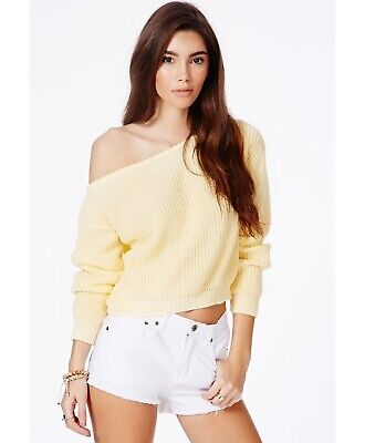 £5.99 • Buy Missguided Ladies Cropped Short Off The Shoulder Yellow Jumper Size 14 - 16 M