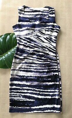 $ CDN37.48 • Buy Ivanka Trump Womens Ruched Dress Size 2  Blue Stripe Exposed Gold Side Zipper