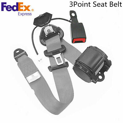 $26.92 • Buy Car Grey 3Point Safety Belt Seatbelt With Curved Rigid Buckle With Warning Cable