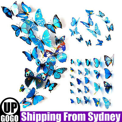 AU4.99 • Buy 12X 3D Butterfly Wall Removable Sticker Decals Kids Art Magnets Blue Home Decor