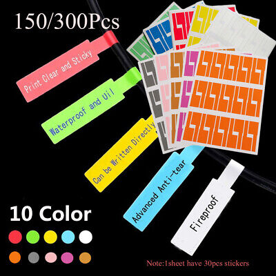 Wire Waterproof Cable Labels Stickers Identification Tags Fiber Organizers • 3.63£