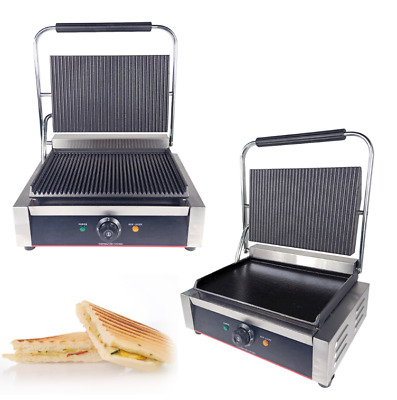 Electric Panini Griddle Commercial Toaster Maker Ribbed Contact Grill 2200W • 169£