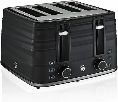 £59.99 • Buy Swan 4 Slice Symphony Black Toaster ST31054BN ** 2 Years Guarantee -NEW