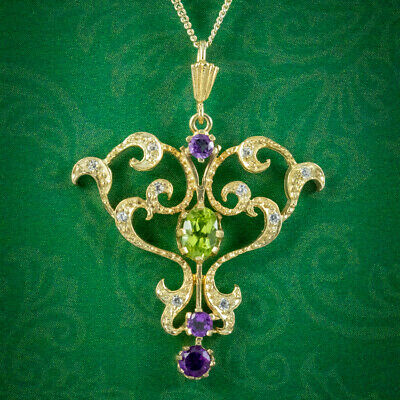£325 • Buy Edwardian Suffragette Style Pendant Necklace Amethyst Peridot Diamond