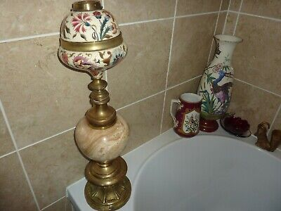 AU509.11 • Buy Zsolnay Pecs Or Hungarian Pottery 66cm Oil Lampbase With Mix Marble & Brass Stem