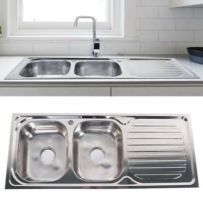 Stainless Steel Kitchen Countertop Sink Inset Double Bowl Reversible Drainer • 123.10£