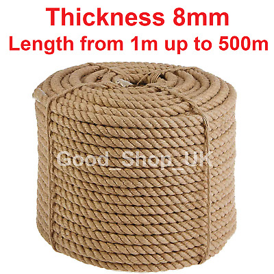 £1.49 • Buy 8 Mm Thick Heavy Duty Jute Rope High Quality Twisted Braided Garden Decking Cord