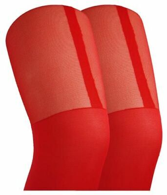 Red Sexy Women Temptation Sheer Mock Suspender Tights Stockings With £10.00 Gift • 8.99£