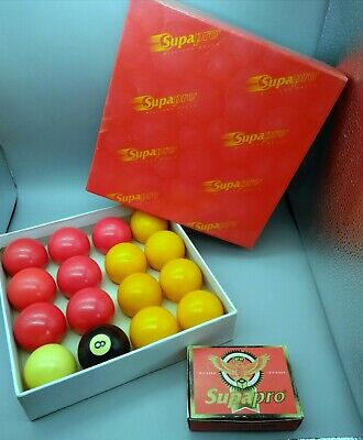 """£15.99 • Buy Supapro Billiards Pool Balls Full Set 2  With 1 7/8"""" Cue Ball  Boxed & 12 Chalks"""