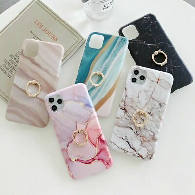 AU16.28 • Buy For IPhone 12 Mini 11 Pro Max 8 7 Plus Marble Case Ring Stand Holder Phone Cover