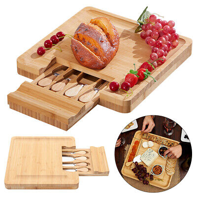 £30.95 • Buy Square Wooden Expandable Cheese Board  4 Knives Set With Integrated Drawer
