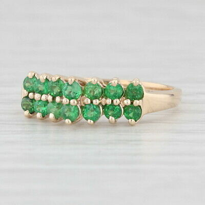 AU343.46 • Buy 1ctw Green Tsavorite Garnet Ring 14k Yellow Gold Size 8.75 Tiered Stackable