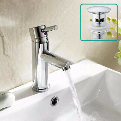 £19.59 • Buy Basin Sink Mixer Tap Mono Bathroom Cloakroom Chrome Brass Faucet With Free Waste