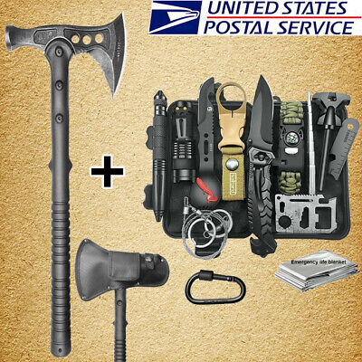$57.99 • Buy Tactical Survival Throwing Tomahawk Axe Hatchet Kit Camping Emergency Gear Tool