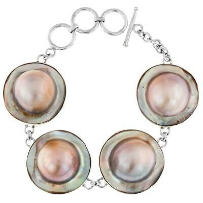 $79.95 • Buy 4 LINK MABE IN MOTHER OF PEARL SHELL 925 STERLING SILVER Bracelet