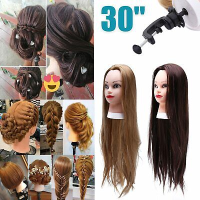 30  Salon Hair Training Head Hairdressing Styling Mannequin Doll + Clamp 9R • 11.39£