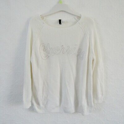 £4 • Buy H&M Cream Knitted Jumper Cherries Long Sleeves Tight Knit Slouchy Size S