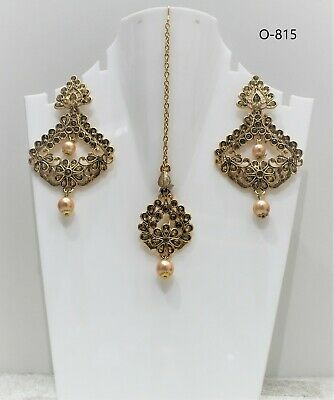 £7.99 • Buy Indian Bollywood Afghani Style Gold Plated Tikka Set With Earings Latest Design