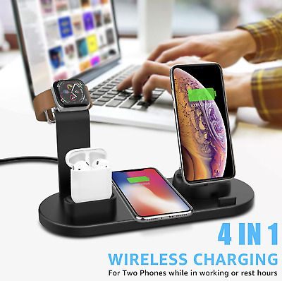AU59.03 • Buy 4 In 1 Charger Station For AirPods Apple Watch IPhone Dock Stand Wireless Charge