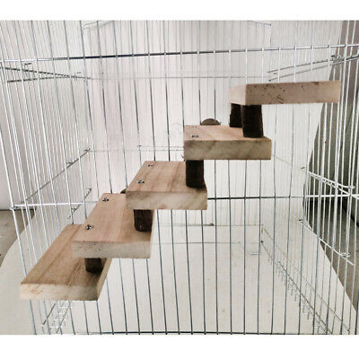 £5.19 • Buy 5 Layers Wooden Hamster Ladder Parrot Toy Cage Climbing Stairs Perches Stand