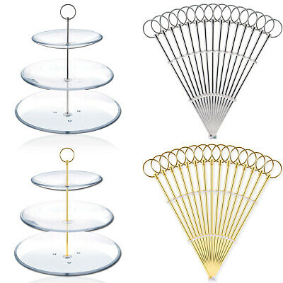 15 Set Ring Style Cake Stand Fittings Kit Cake Stand Plates Centre Rods 2/3 Tier • 15.49£