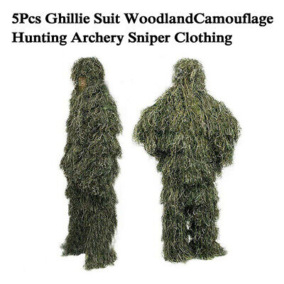 AU67 • Buy 5Pcs Ghillie Suit Woodland Camouflage Hunting Archery Sniper Clothing