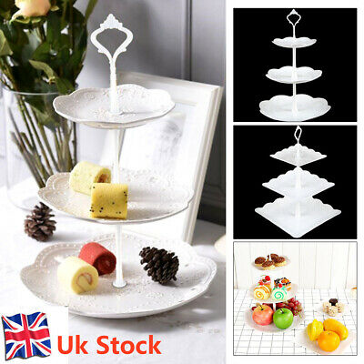 3 Tier Cake Stand Afternoon Tea Wedding Party Plates Tableware Embossed Tray New • 7.99£