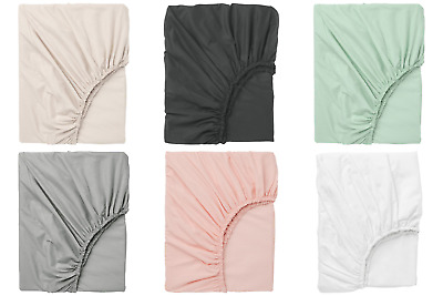 IKEA Dvala Fitted Sheets 100% Cotton Various Colours Sizes • 10.99£