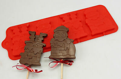 £5.99 • Buy 4 Cell Santa Chimney Lolly Chocolate Bar Silicone Mould Christmas Wax Resin