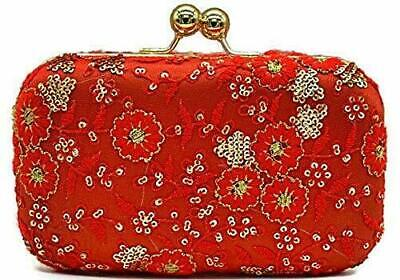 £21.81 • Buy Women's Red Clutch Bag Indian Bridal Studded Handbag Party/Cocktail Purse Bags