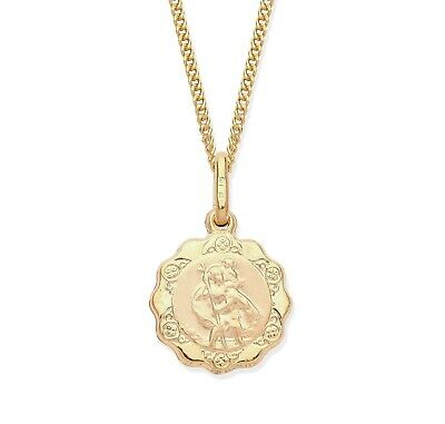 £49.95 • Buy 9ct Yellow Gold St Christopher Pendant / Necklace + 18 Inch Chain
