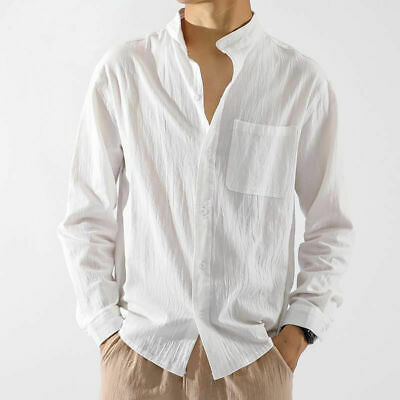 £19.99 • Buy Mens Cotton Linen Casual Tops Long Sleeve Sumer Stand Collar Chinese Style Shirt