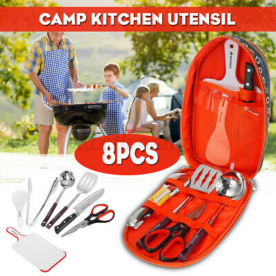 £34.05 • Buy Camping Cooking Utensils 8Pcs Set Kitchenware Cookware Equipment Outdoor Gear UK
