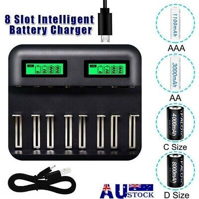 AU20.89 • Buy LCD 8-slot Display Intelligent Charger For AA/AAA C/D Rechargeable Batteries AU