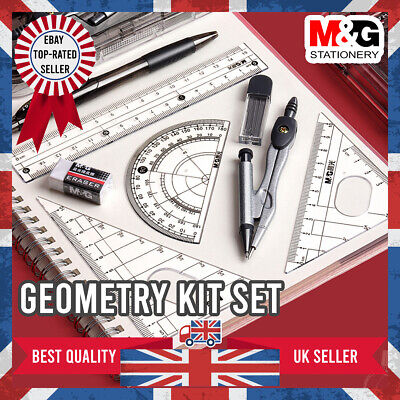 £5.99 • Buy M&G School Maths Geometry Set With Ruler Compass Protractor Eraser Stationery