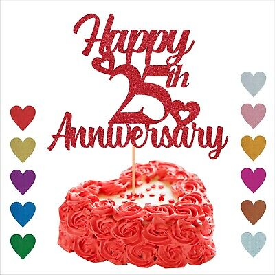 £2.93 • Buy Personalised WEDDING ANNIVERSARY Cake Topper Custom Glittering For 50th 25th 1st