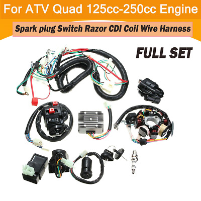 $81.77 • Buy Full Wiring Harness Quad Electric CDI Coil Wire For 125cc 200cc 250cc ATV