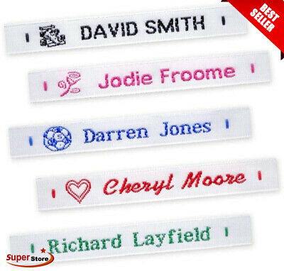 £8.99 • Buy 72 Woven Sew On Name Tapes School Tags Labels Clothing Personalized Lettering