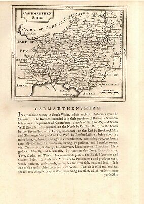 £17.80 • Buy SCARCE 18th CENTURY 'GROSE' HAND-ENGRAVED COPPERPLATE CARMARTHENSHIRE COUNTY MAP