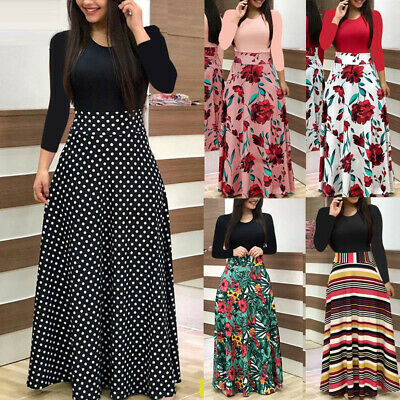 AU24.31 • Buy Womens Long Sleeve Floral Boho Print Long Maxi Dress Loose Ladies Casual Dress