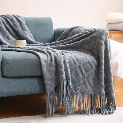 £18.89 • Buy UK Nordic Chunky Knitted Thick Blankets Knit Plaid Throw Sofa Bed Tassel Blanket