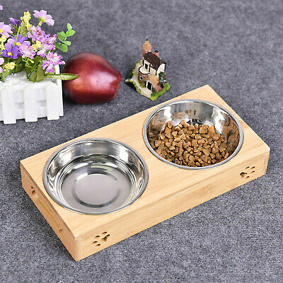 £9.99 • Buy Double Bowls Stand Pet Cat Dog Puppy Stainless Steel Feeding Station Food Water