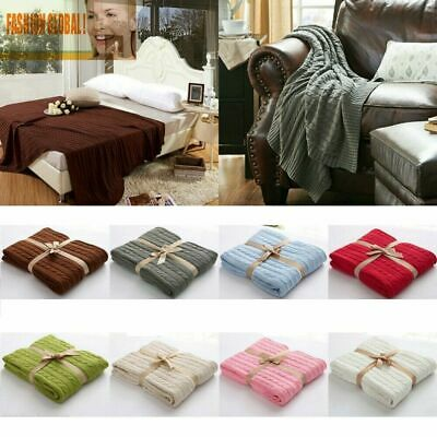 £25.20 • Buy Home Décor Classic Cotton Knit Knitted Throw Bed Blanket Cable Knitting Pattern!
