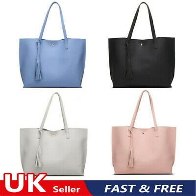 Large Leather Look Tote Bag Women Soft Pebbled Causal Tassel Handbag Ladies UK • 6.99£